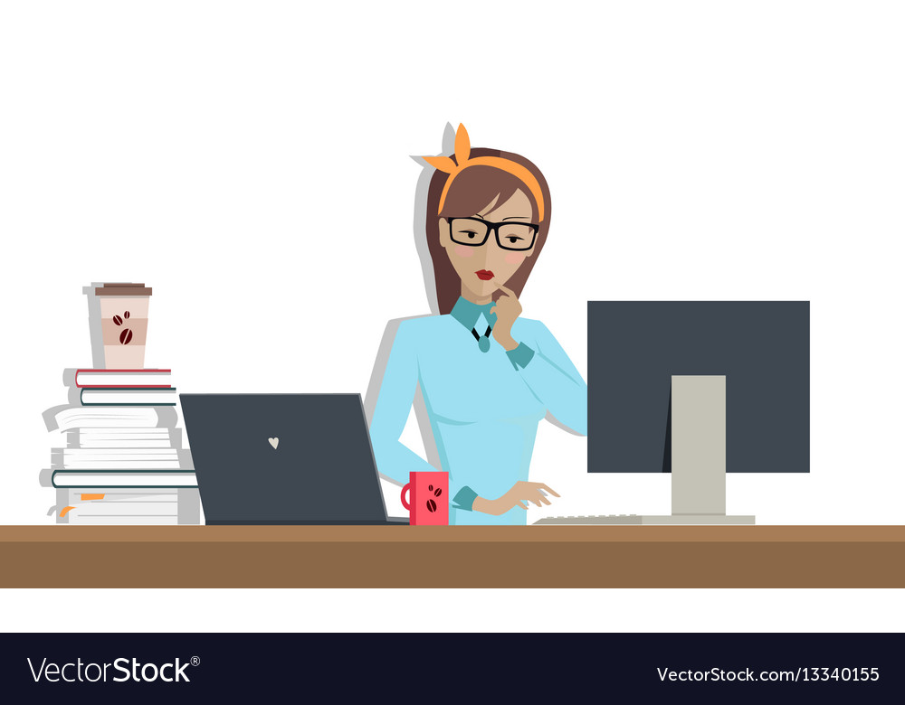 Business woman works on his desktop vector image