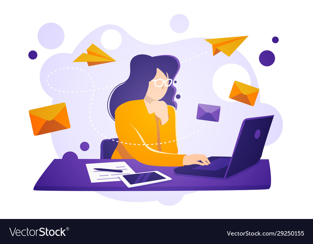 Business women sit on laptop check and send emails