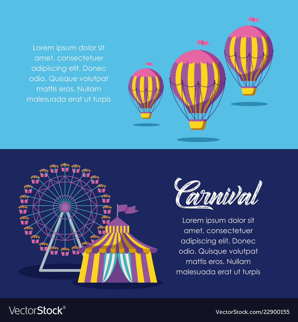 Circus tent with panoramic wheel and balloons air