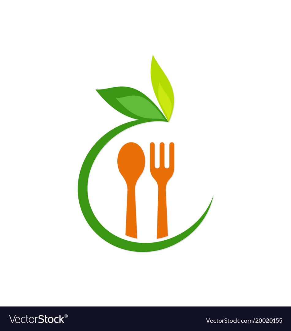 Food spoon organic leaf logo