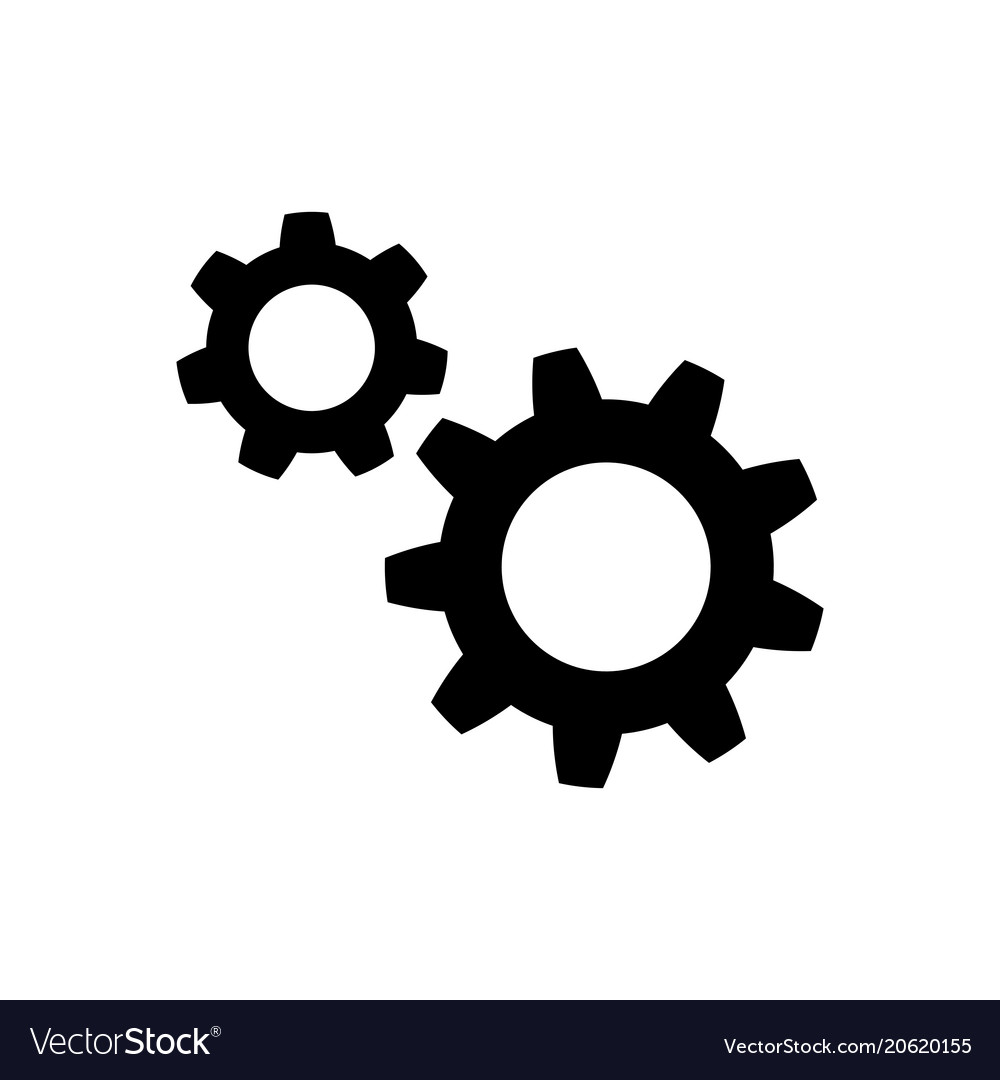 Gear icon in flat style wheel symbol vector image