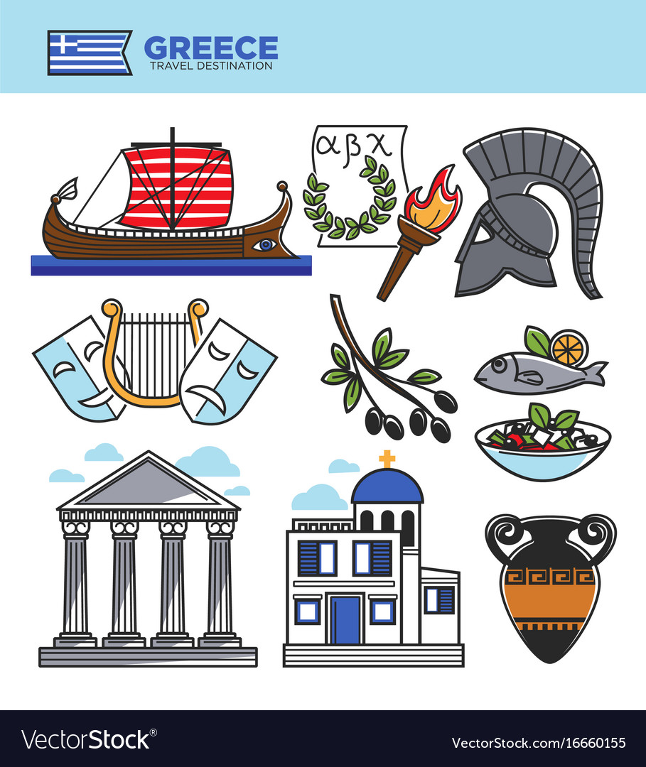 Greece travel tourism landmark symbols and greek vector image