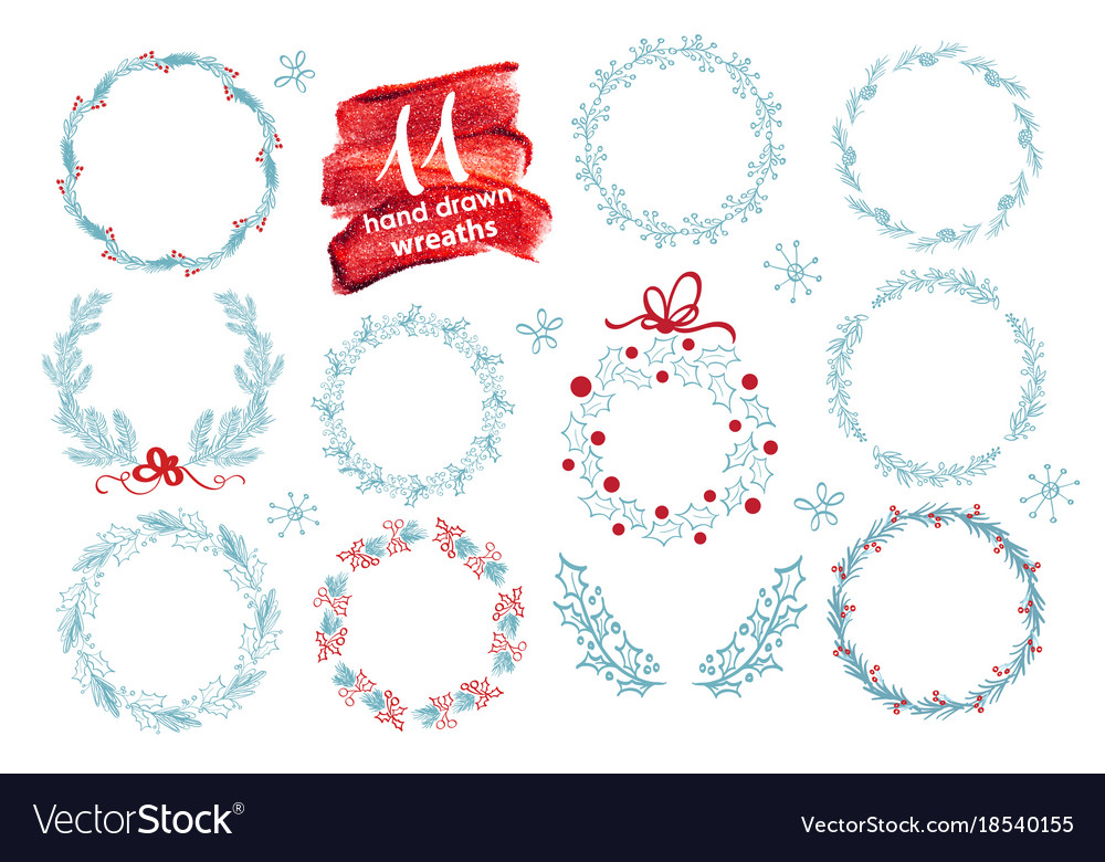 Hand drawn christmas wreath set with winter floral