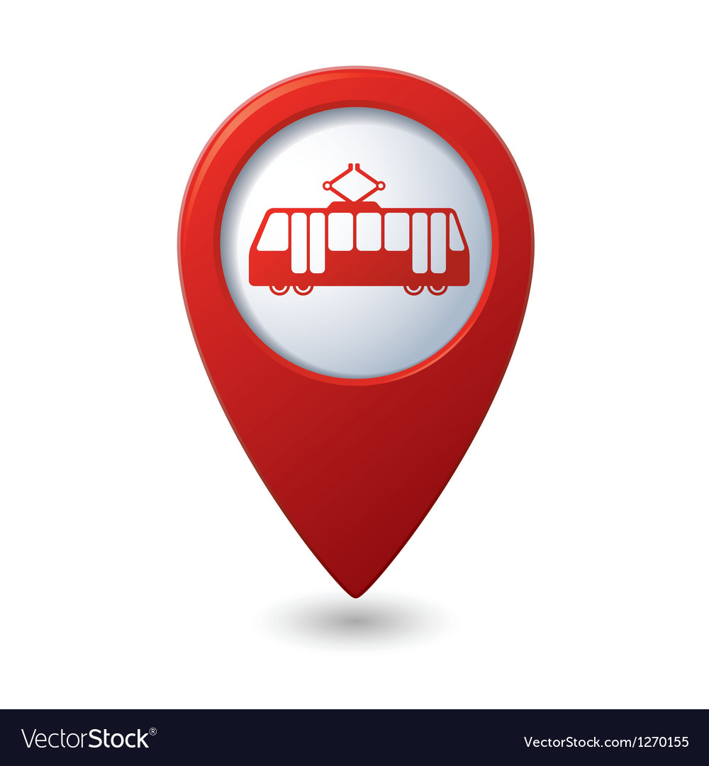 Map pointer with tram icon