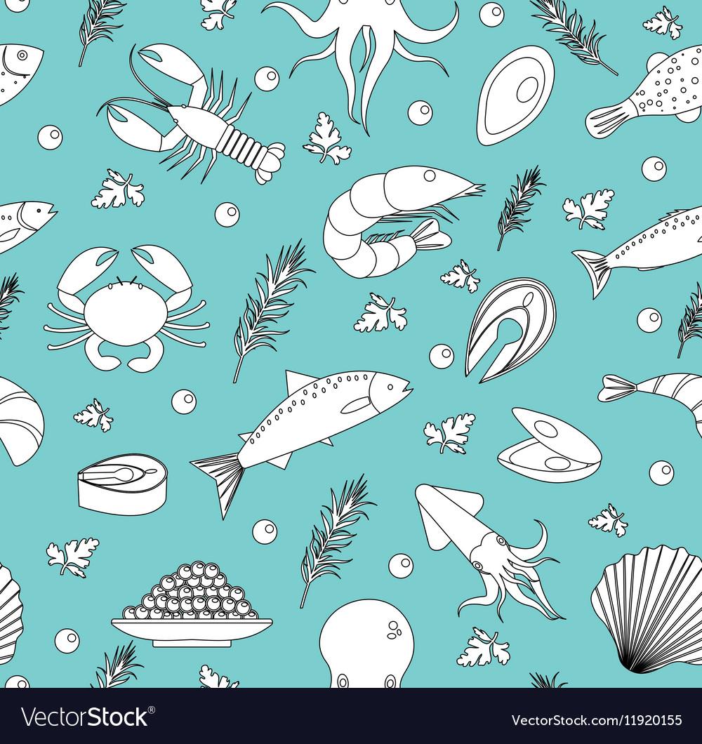 Sea life seamless pattern Underwater endless