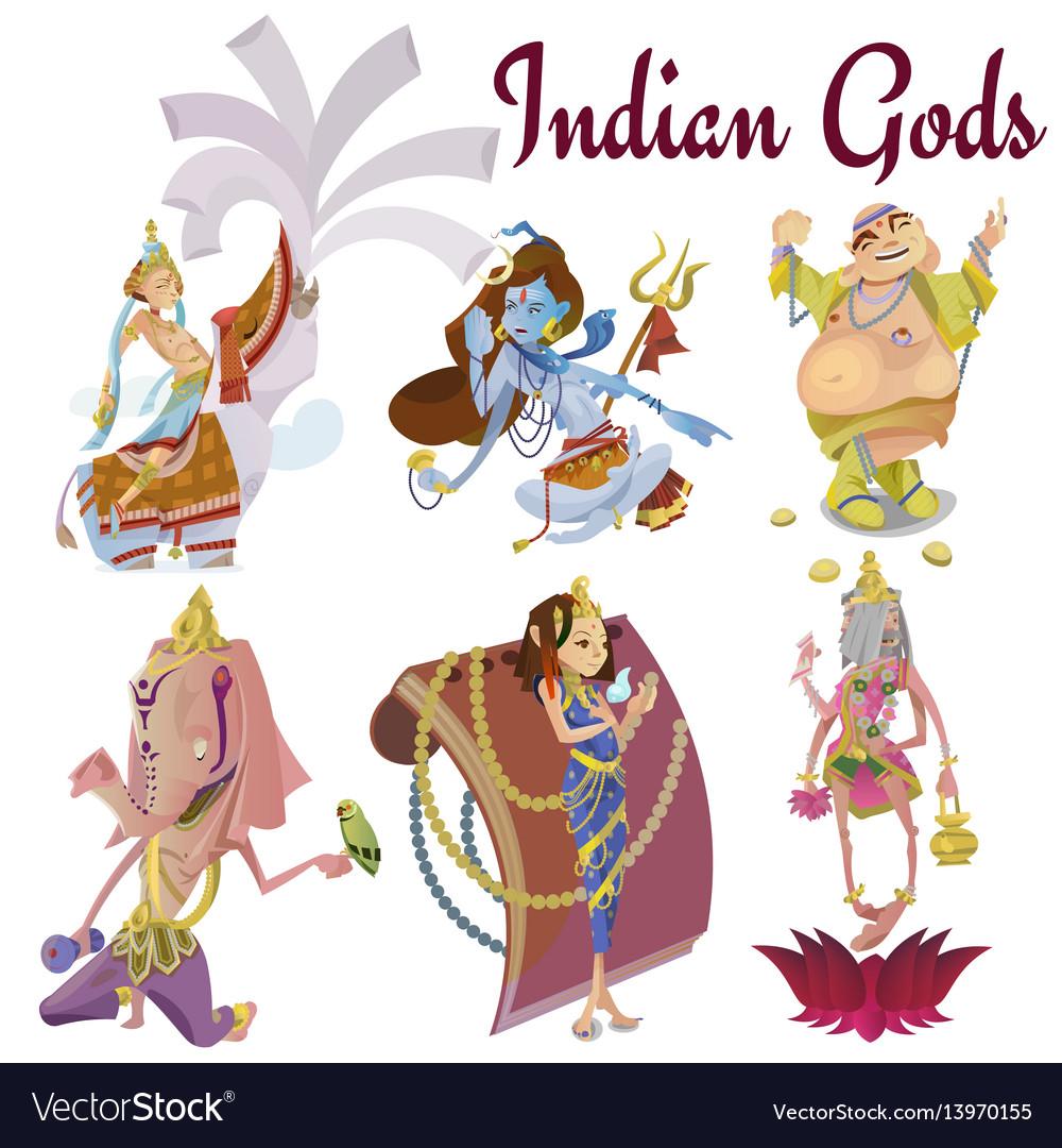 Set of isolated hindu gods meditation in yoga