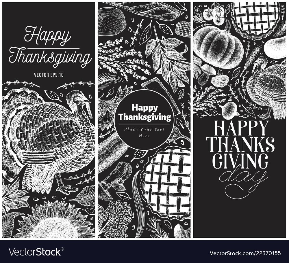 Set three happy thanksgiving day design