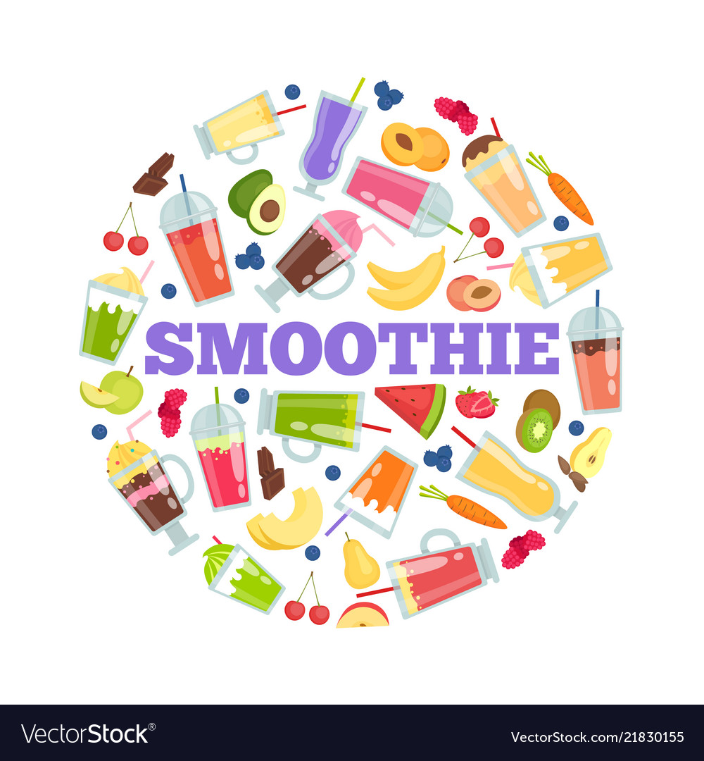 Smoothie cocktails in circle summer