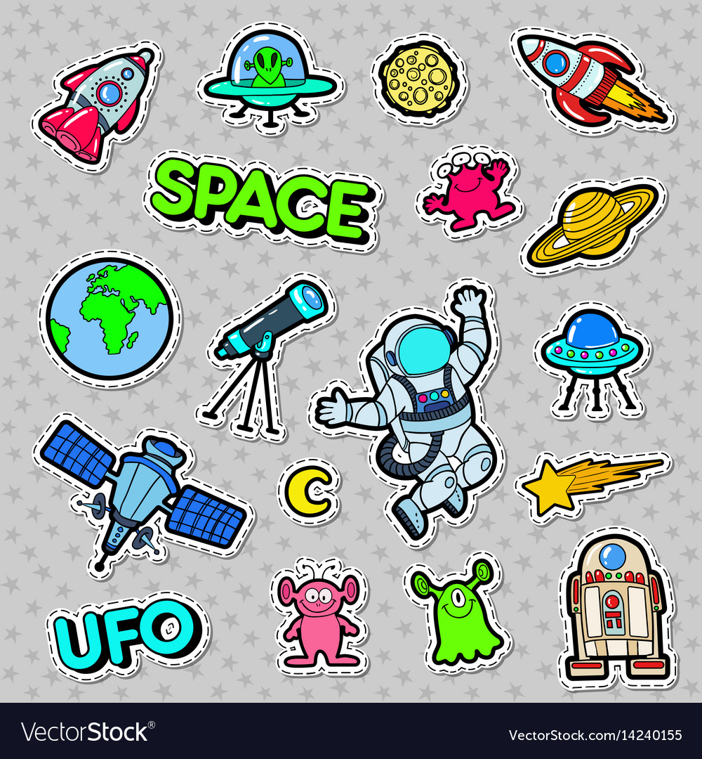 Space ufo robots and aliens badges patches
