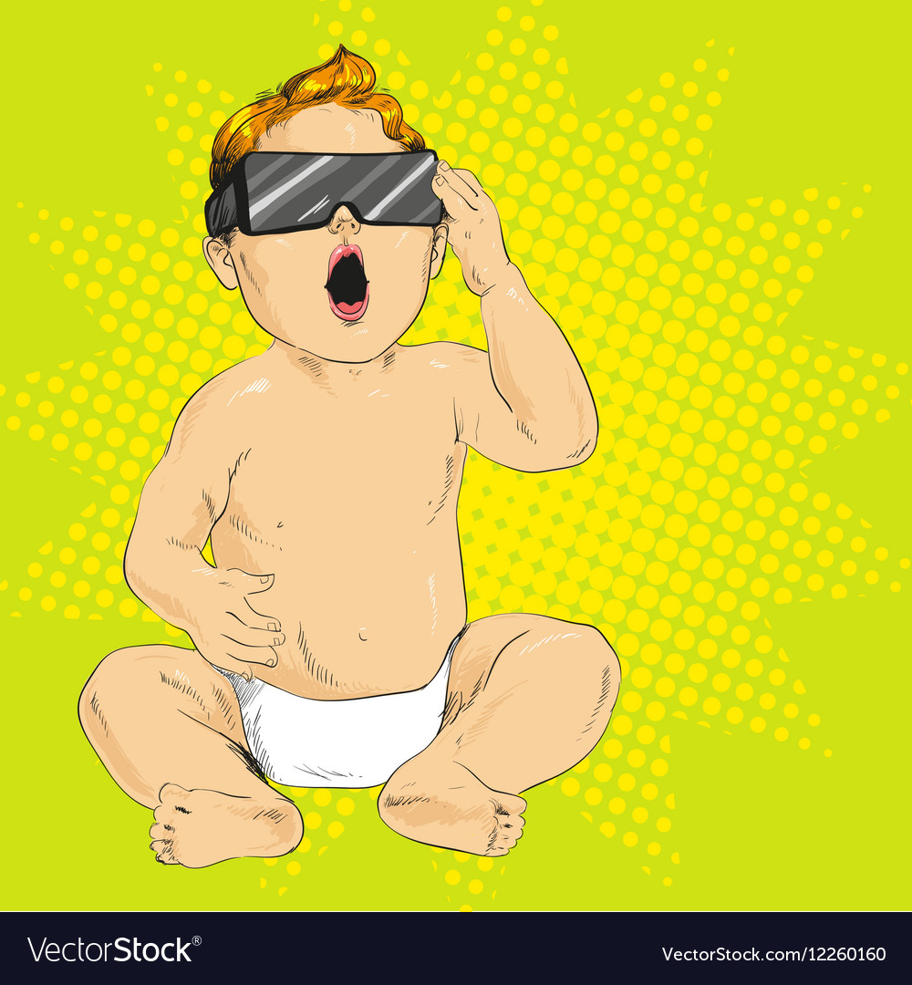 Baby in 3d anaglyph glasses