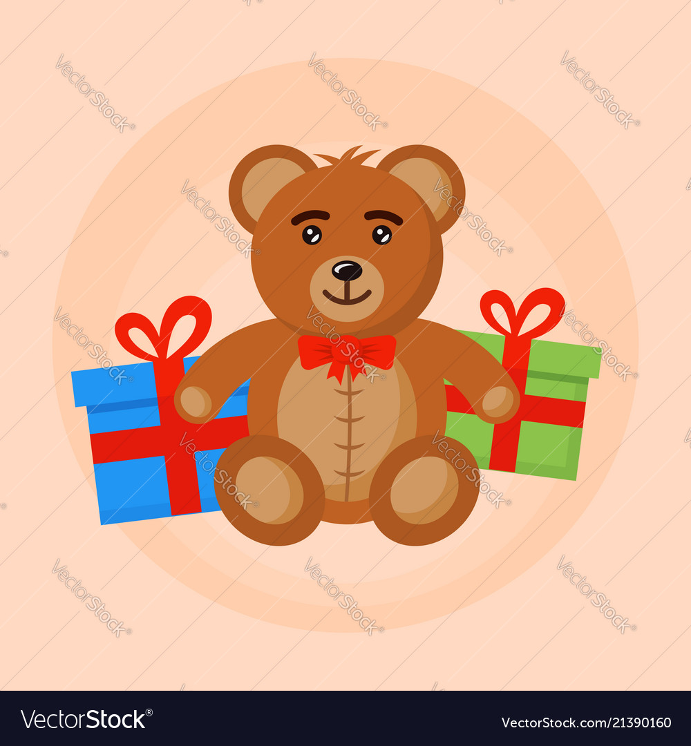 Bear toy and gift boxes