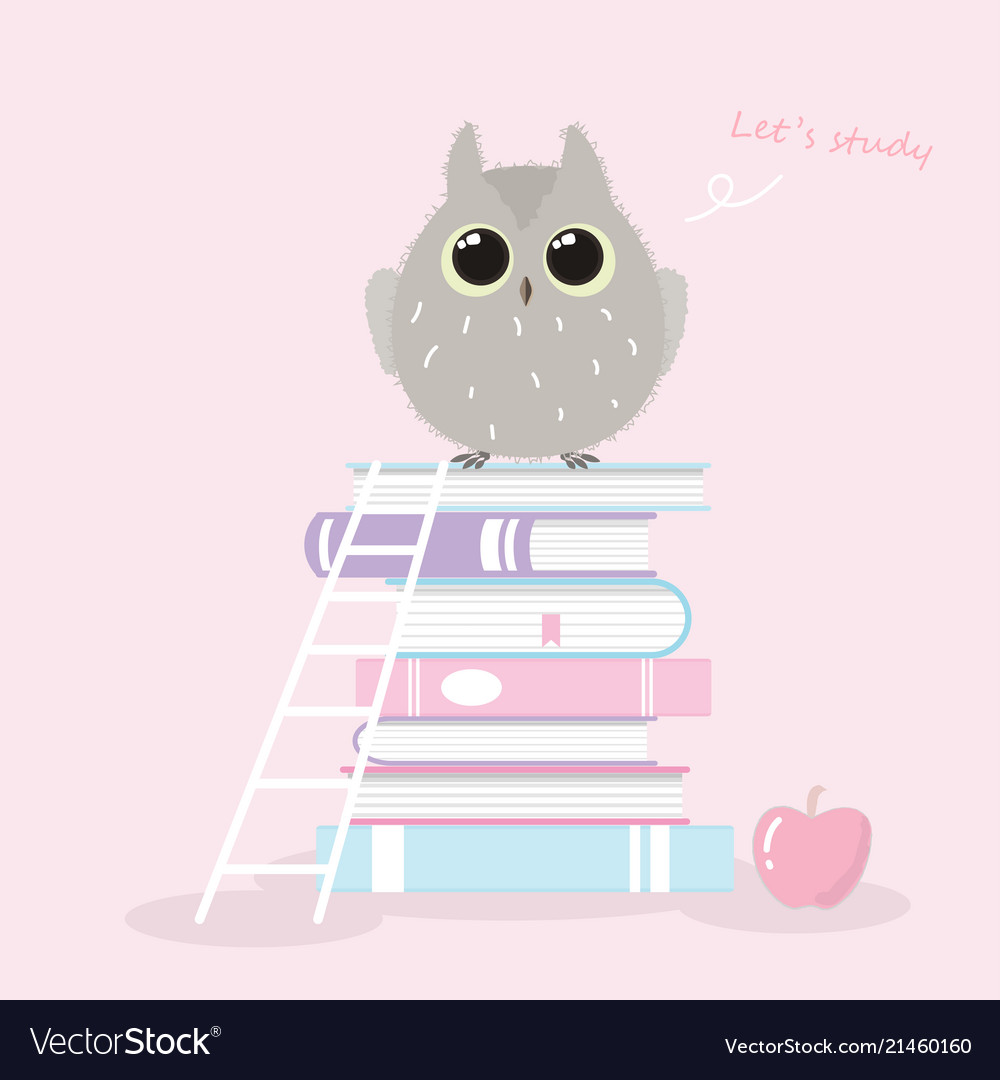 Cute owl standing on book stack hand drawn style