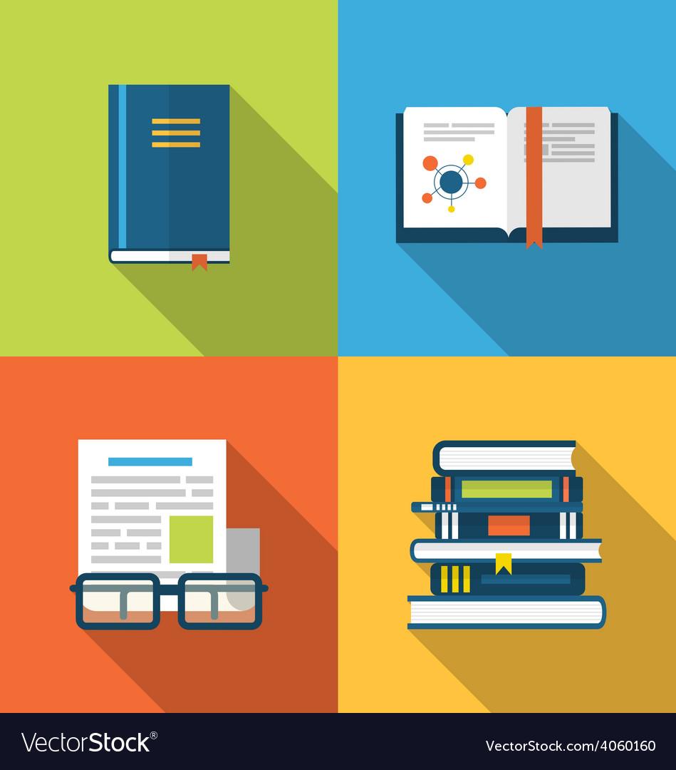 Flat icons design of handbooks books and publish