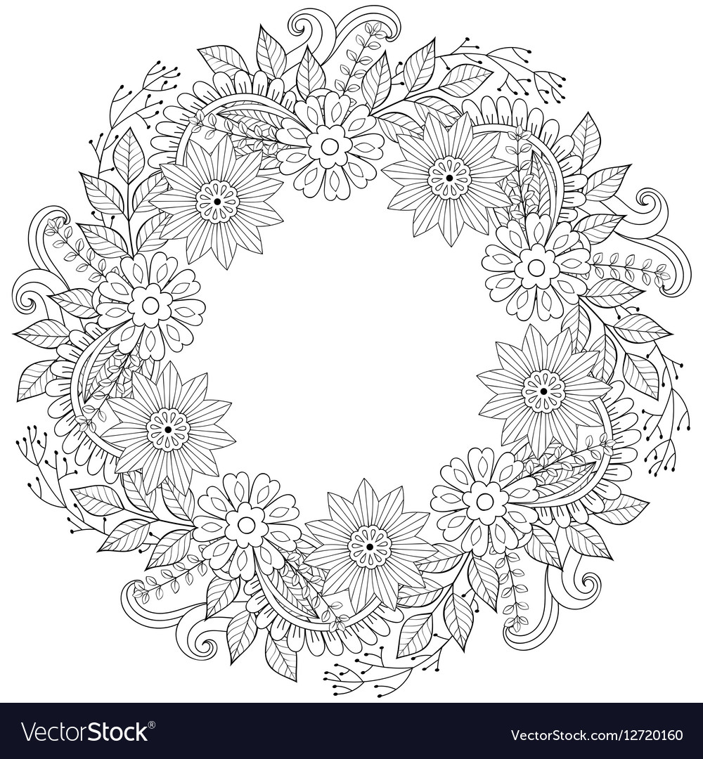 Floral doodles wreath in zentangle ornamental