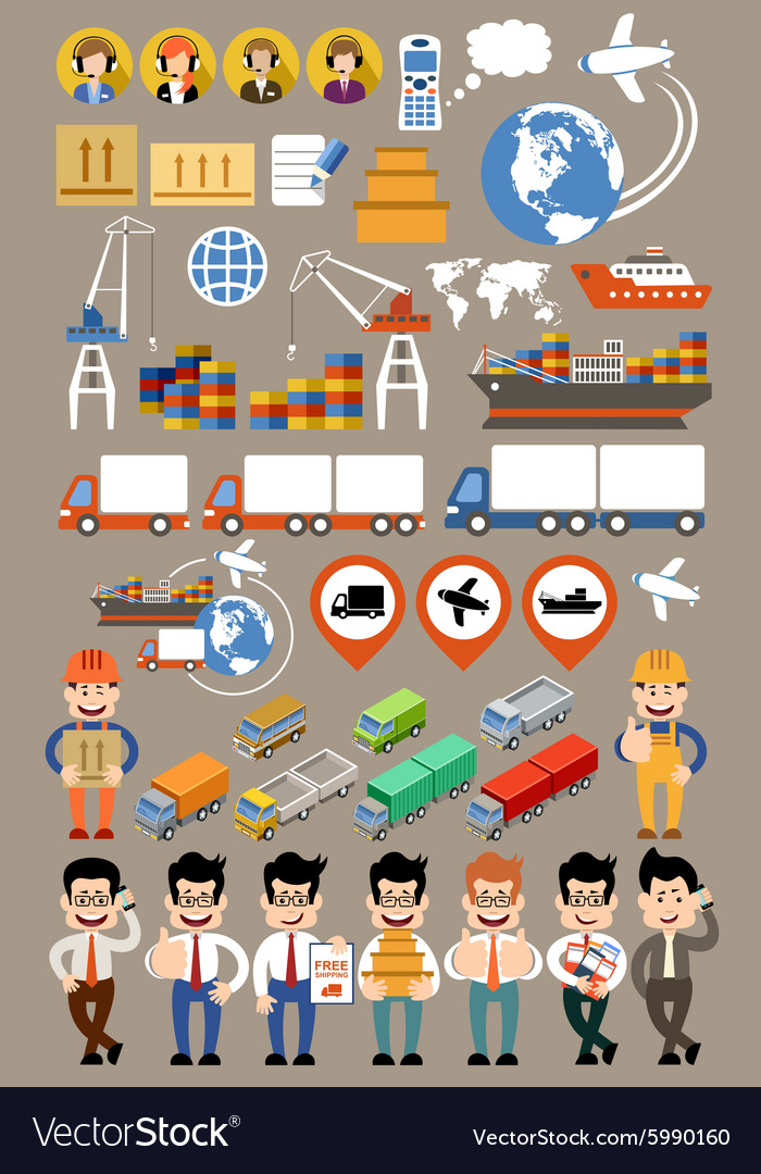 Freight transportation and delivery logistics flat