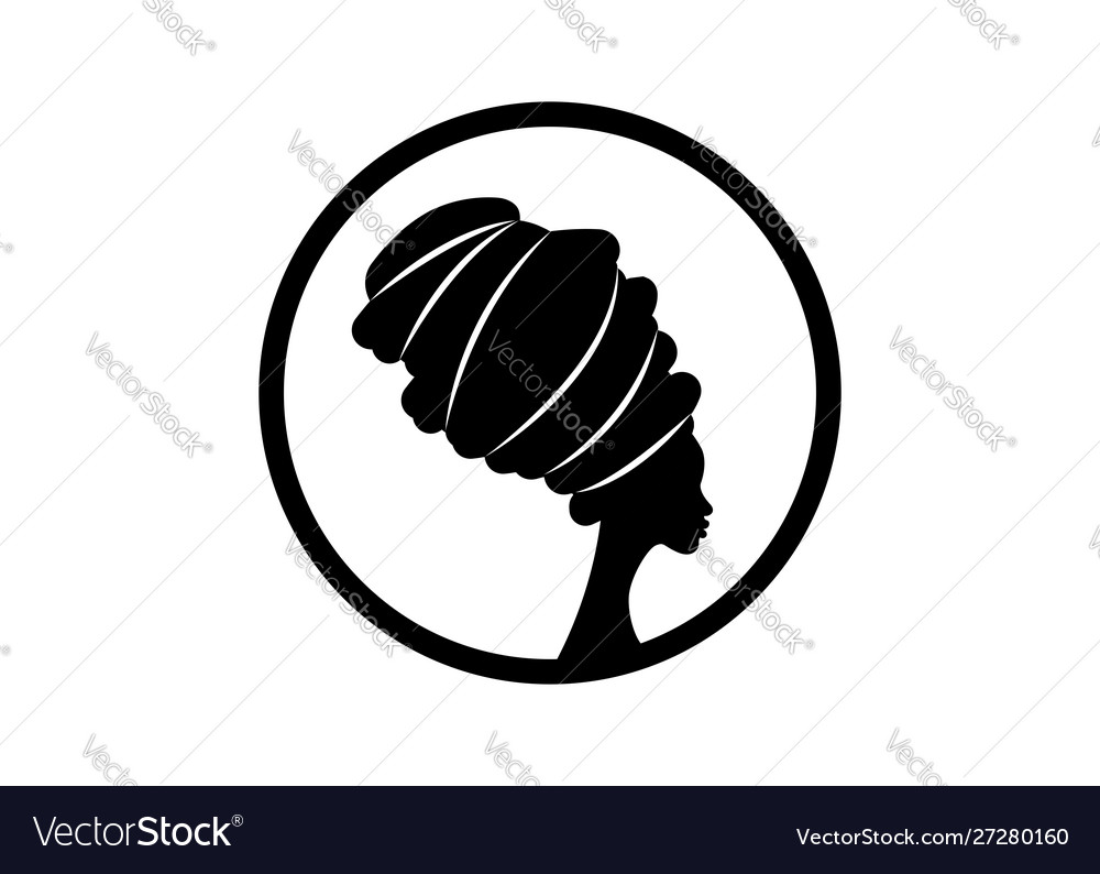 Logo portrait african woman in traditional turban