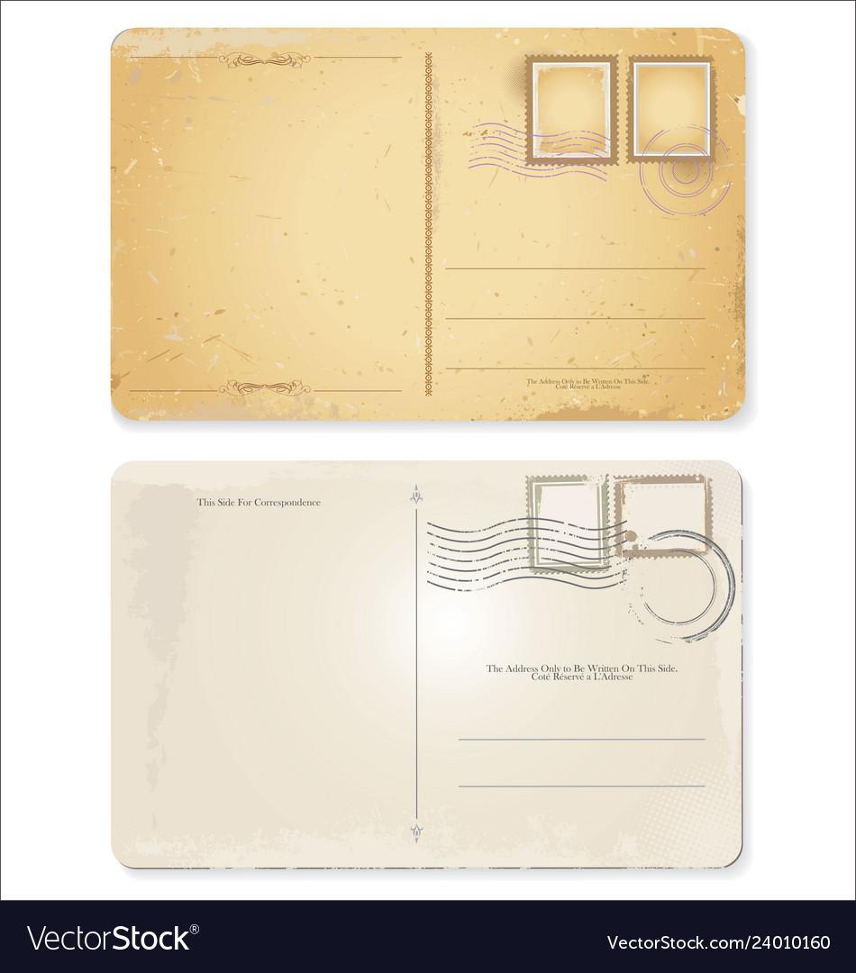 Old retro vintage blank postcard collection