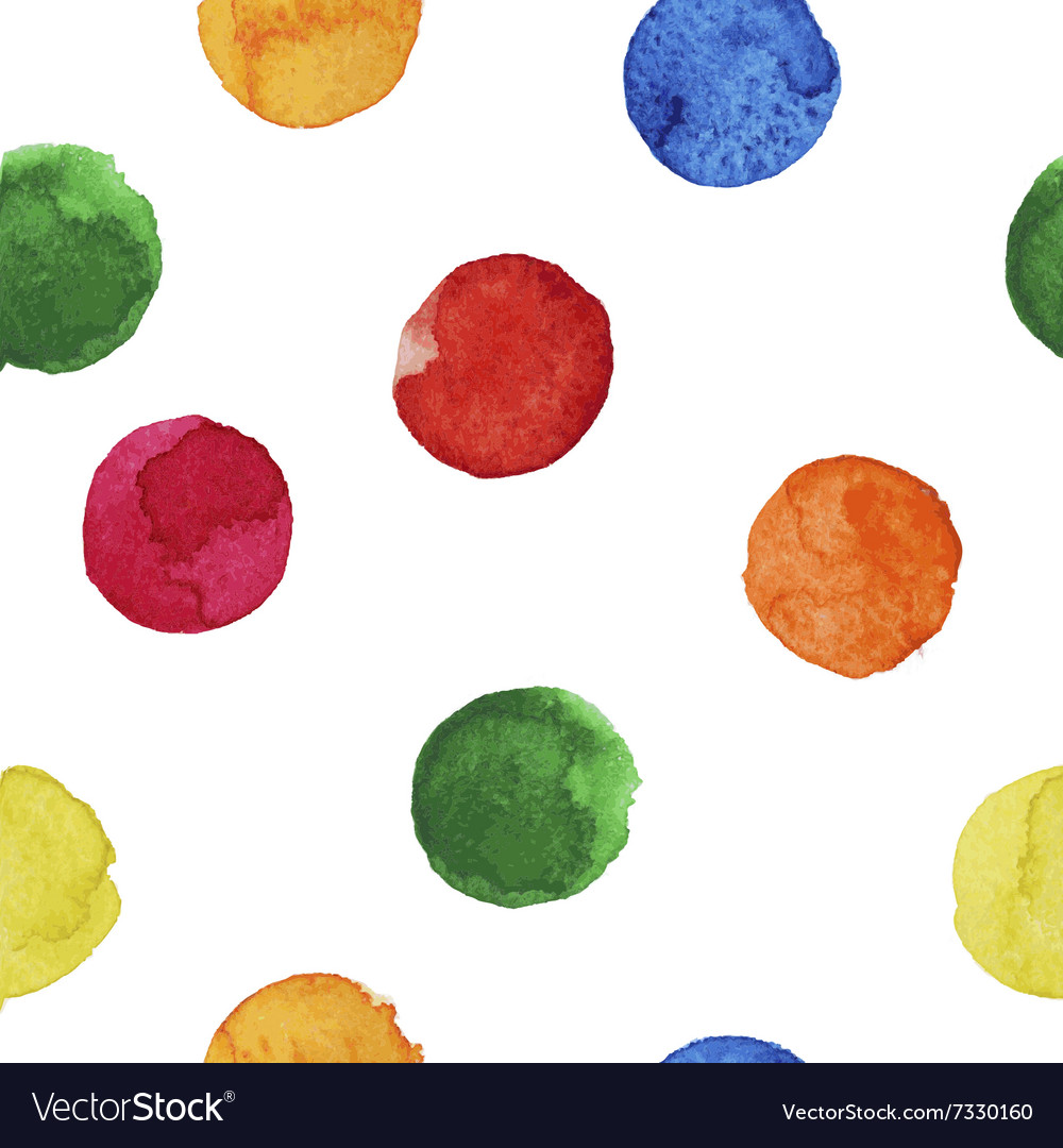 Seamless background of colorful watercolor circles