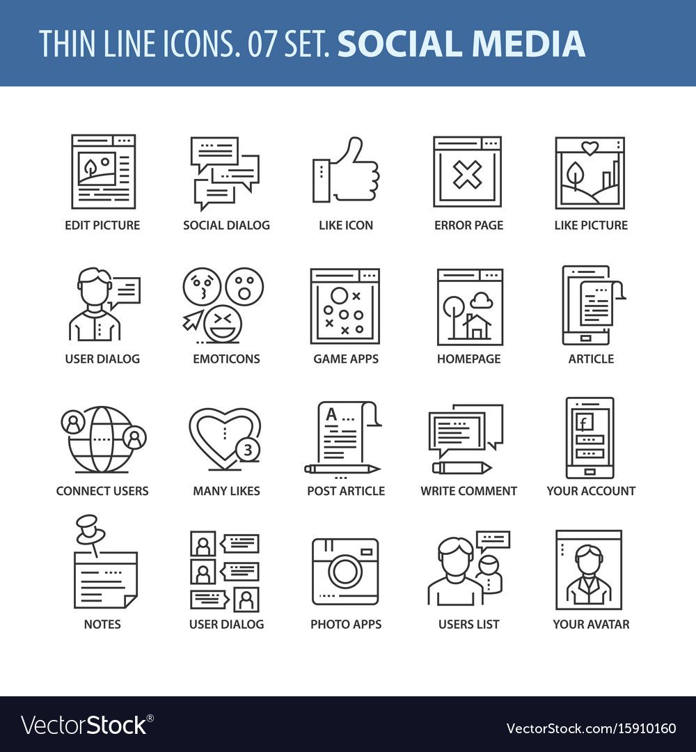Set of thin line flat icons social media