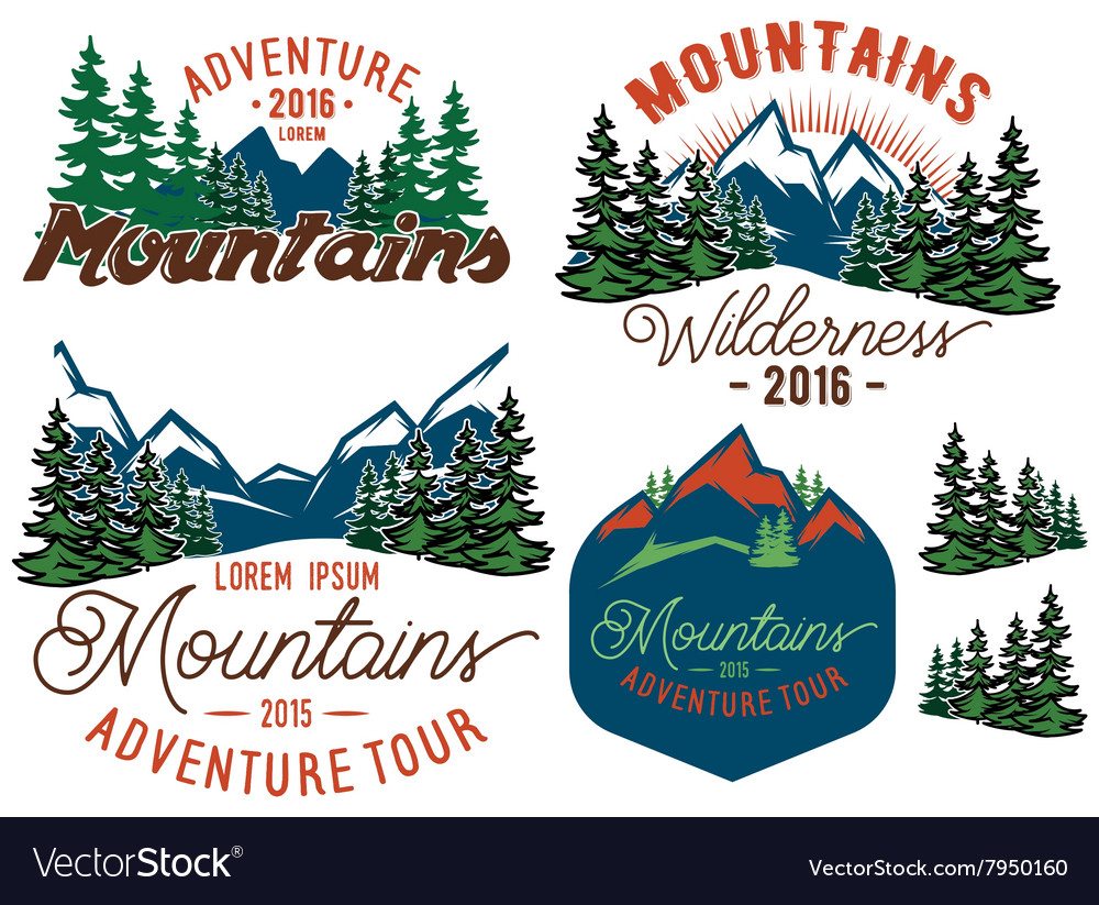 Set template in retro style with mountains spruces