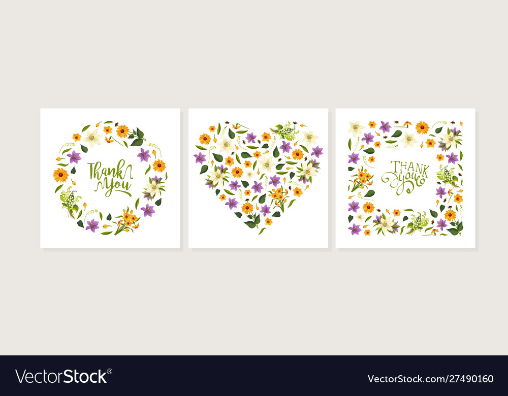 Thank you card template with floral pattern of