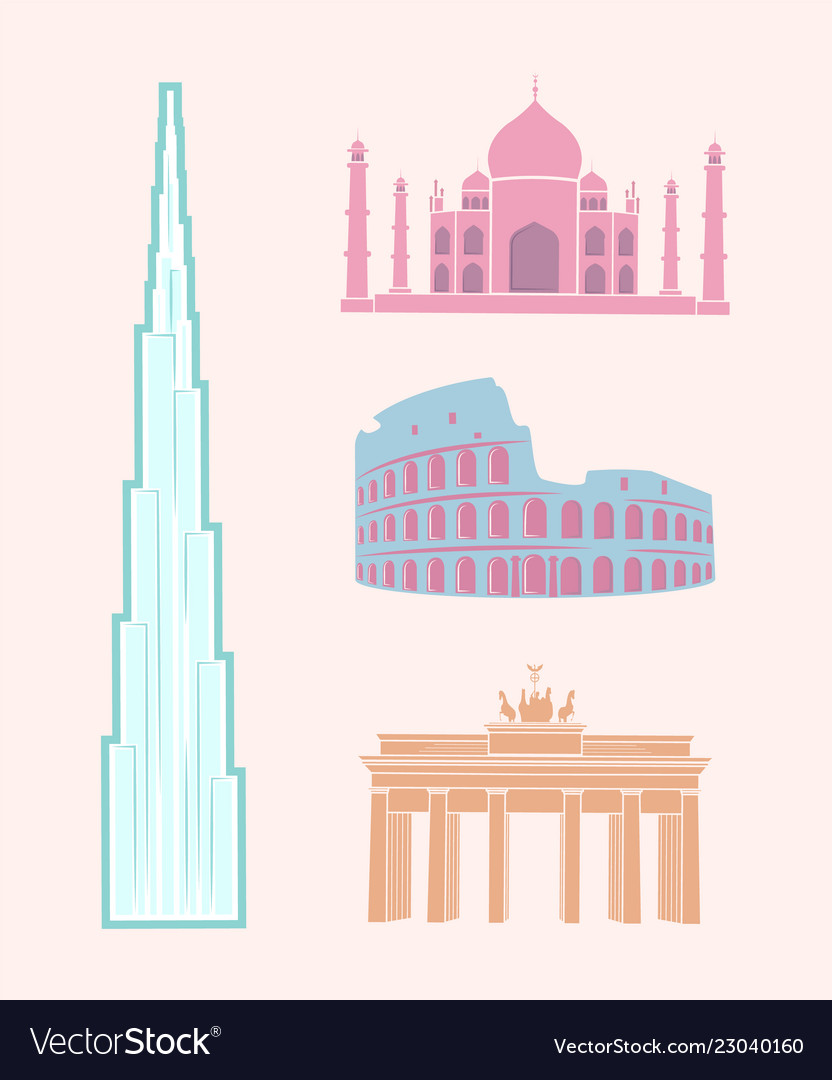 World famous sights travel pastel stickers set