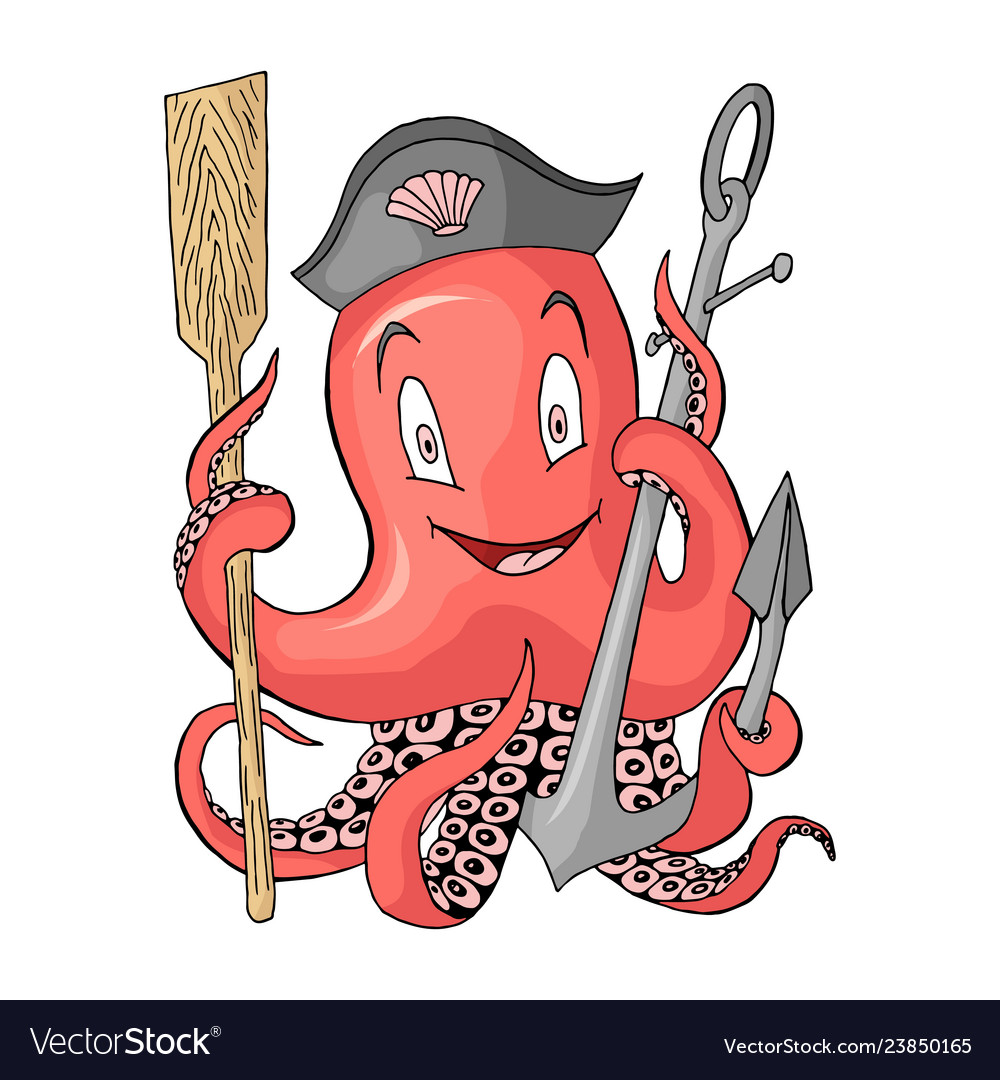 Anchor with octopus cartoon colored character