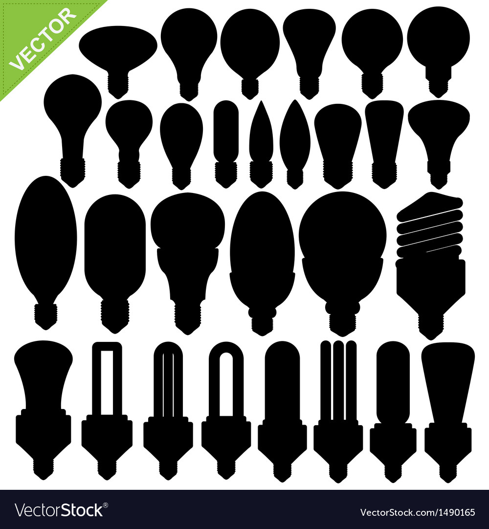 Bulb silhouettes vector image