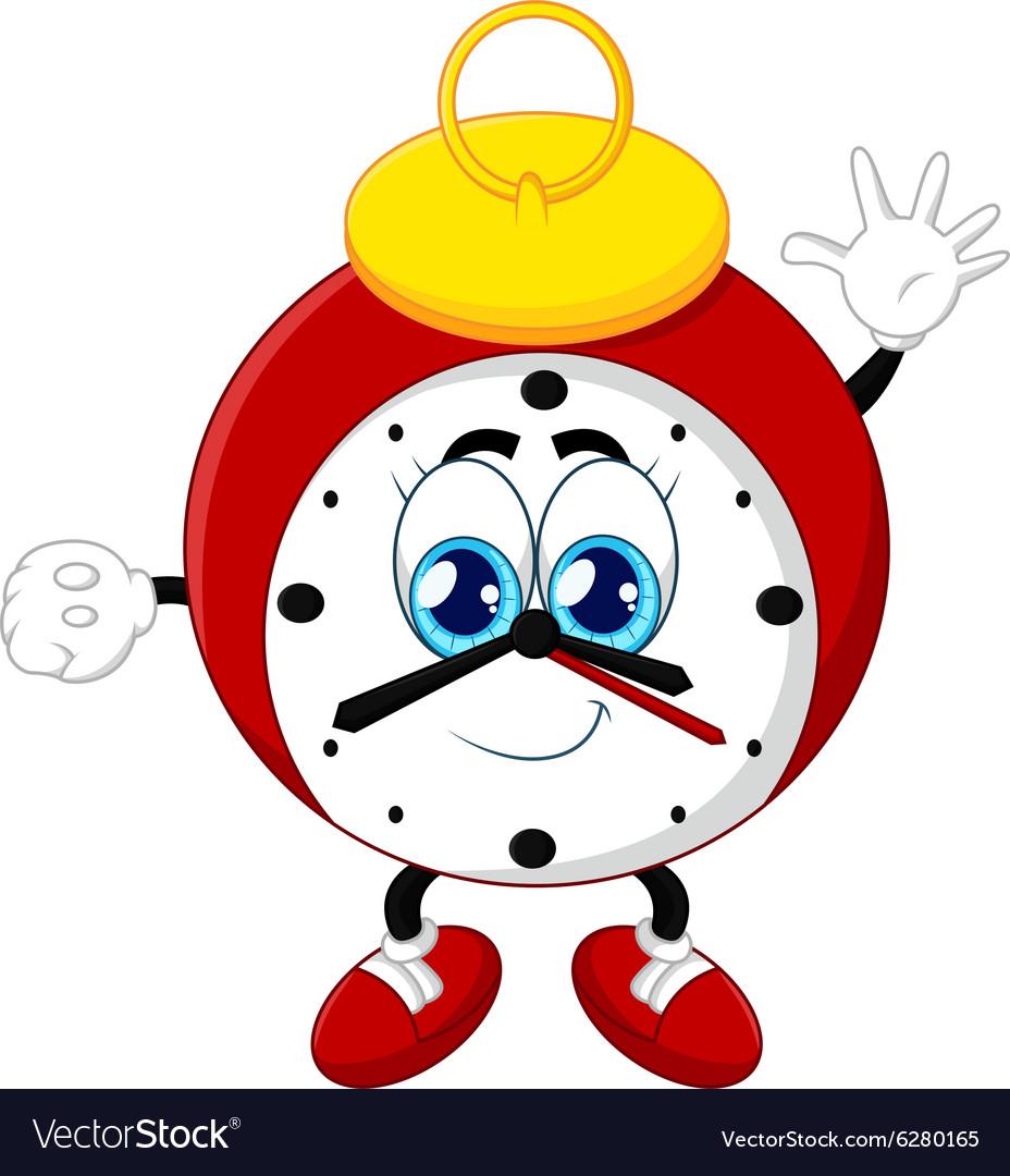 Cartoon Clock Waving Hand On White Background Vector Image