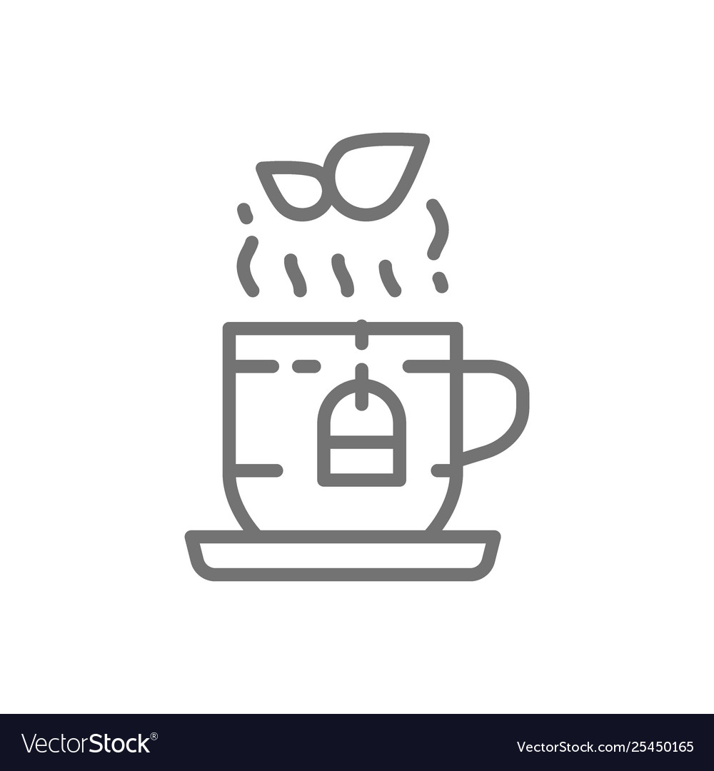 Cup english herbal tea line icon
