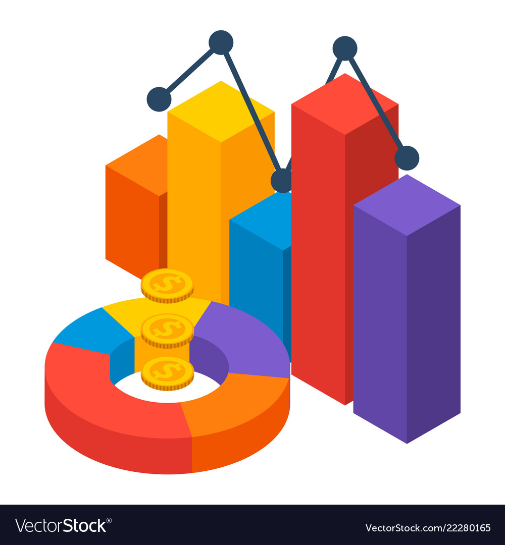 Financial chart icon isometric style