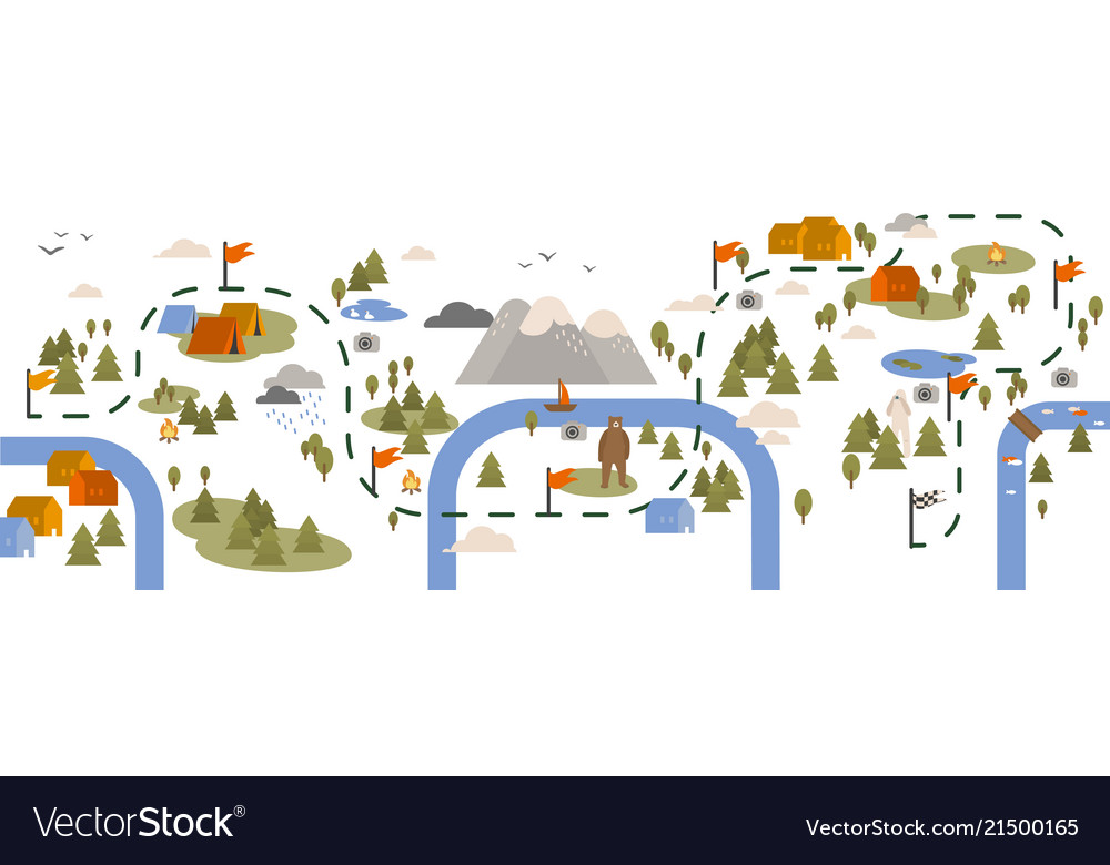 Horizontal banner with trail map hiking route or