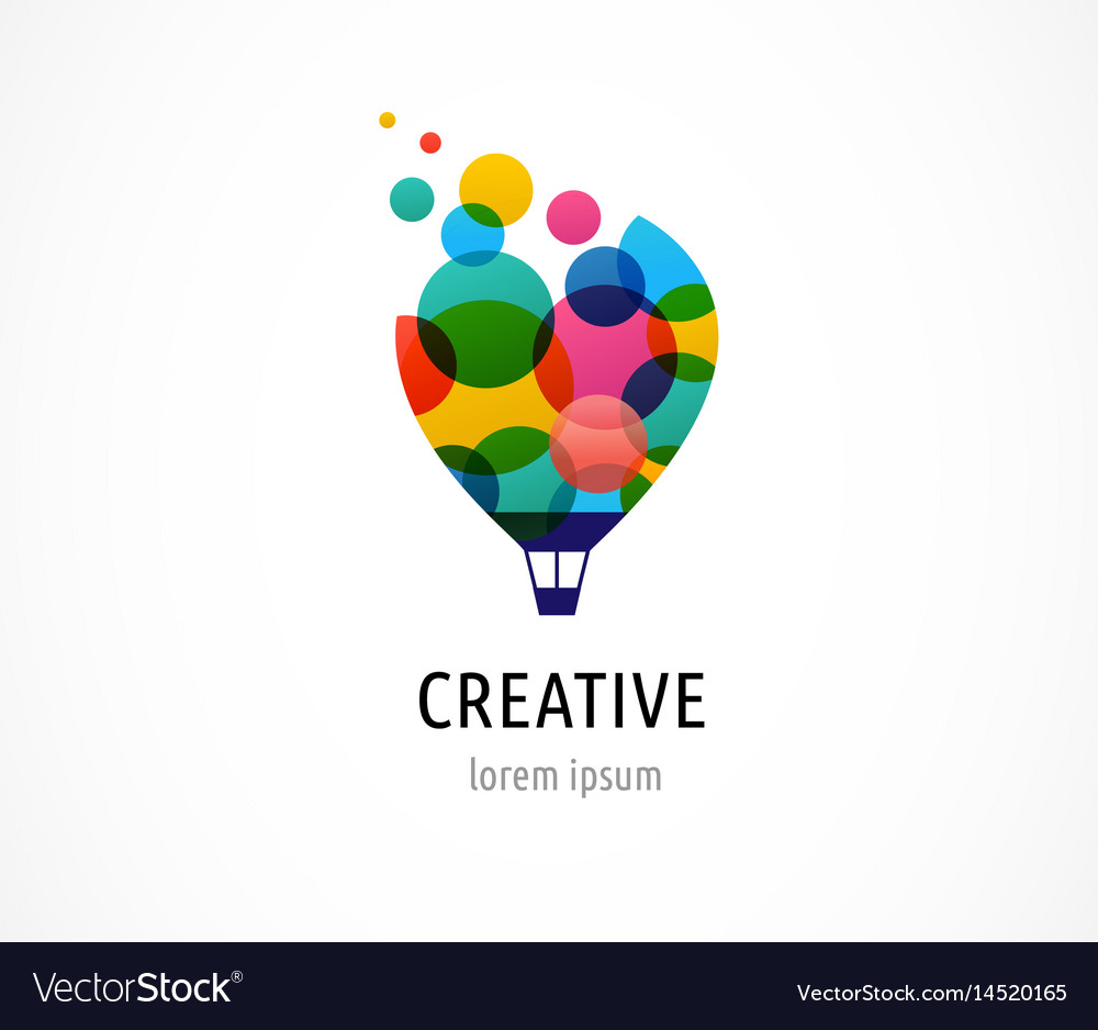 Hot air balloon with colorful happy icon logo vector image