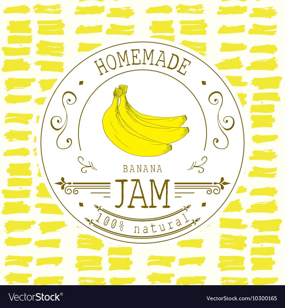 jam label design template for banana dessert vector image