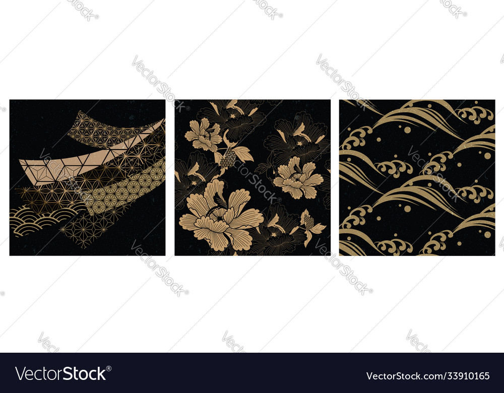 Japanese seamless pattern and asian elements