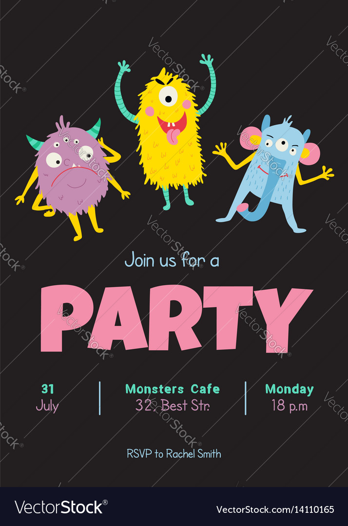 Monsters invitation vector