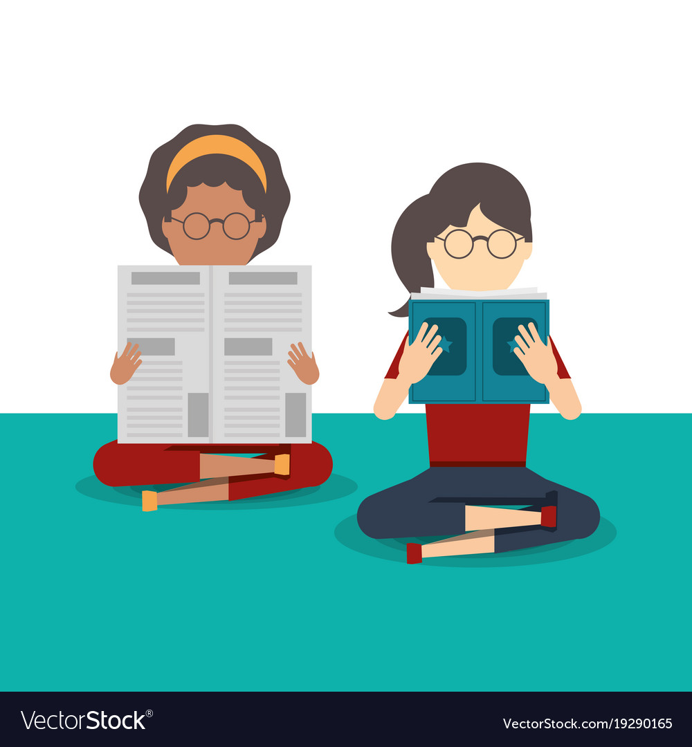people reading book and newspaper royalty free vector image