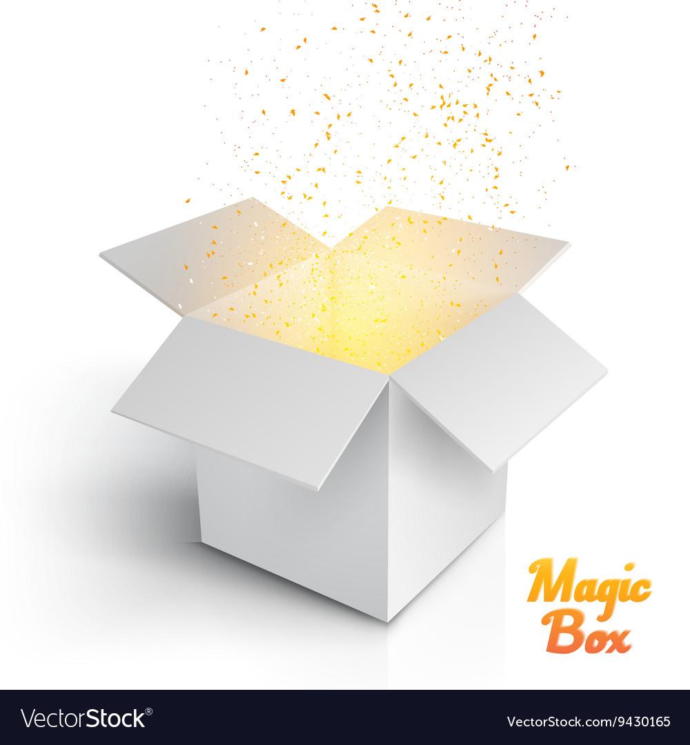 Realistic Magic Open Box Magic Box with Confetti