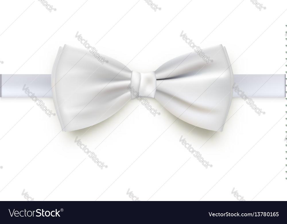 Realistic white bow tie
