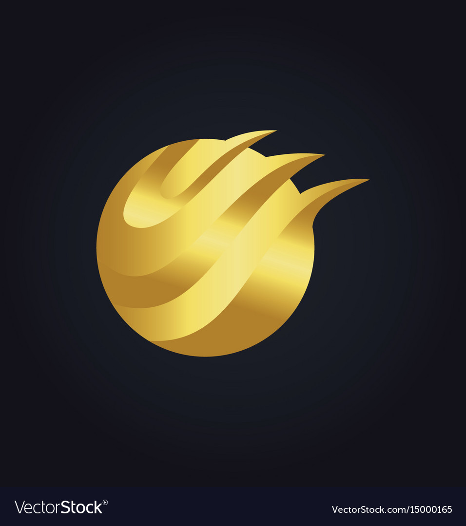 Round abstract wave technology gold logo