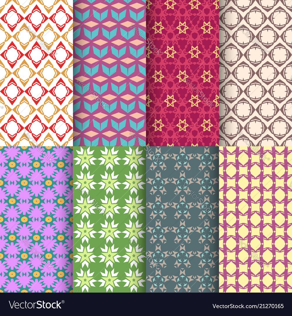 Set of seamless decorative geometric shapes