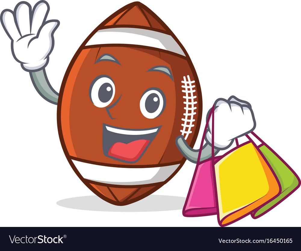 Shopping american football character cartoon