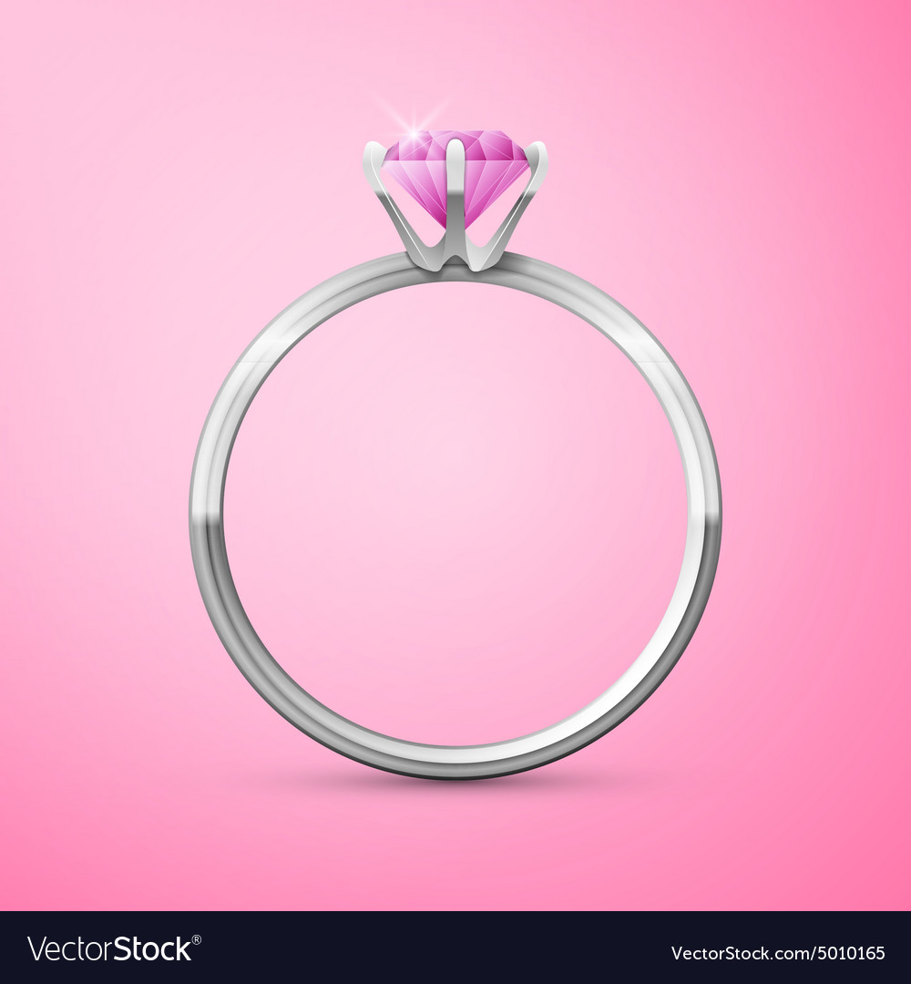 Silver wedding ring on pink background Royalty Free Vector