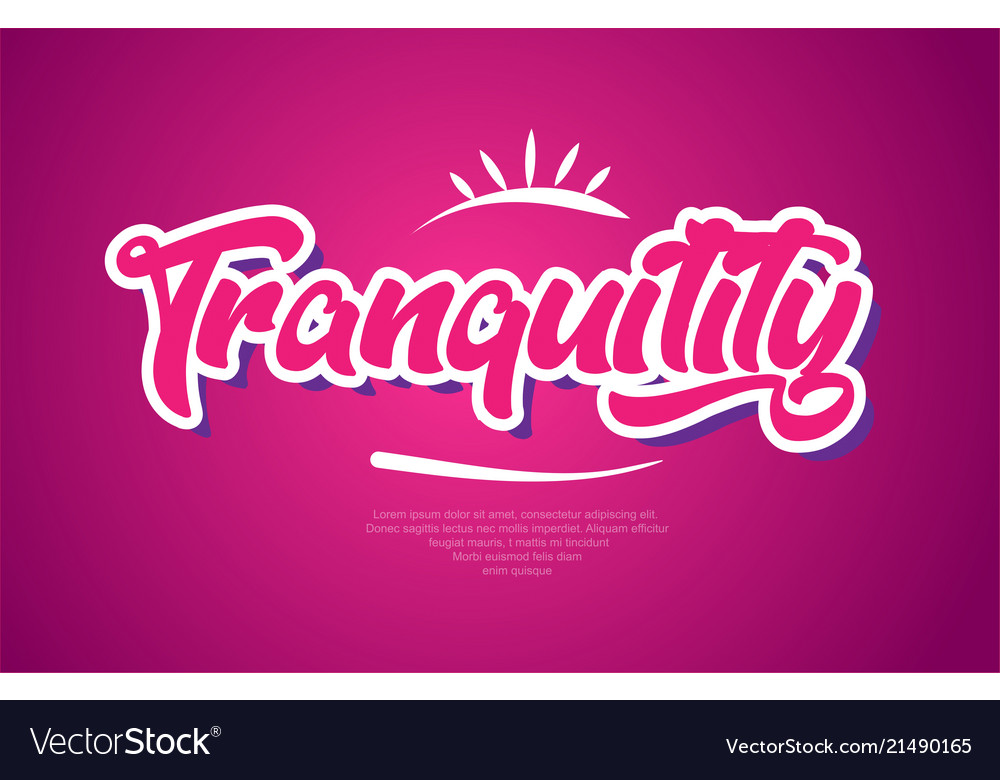 Tranquility word text typography pink design icon