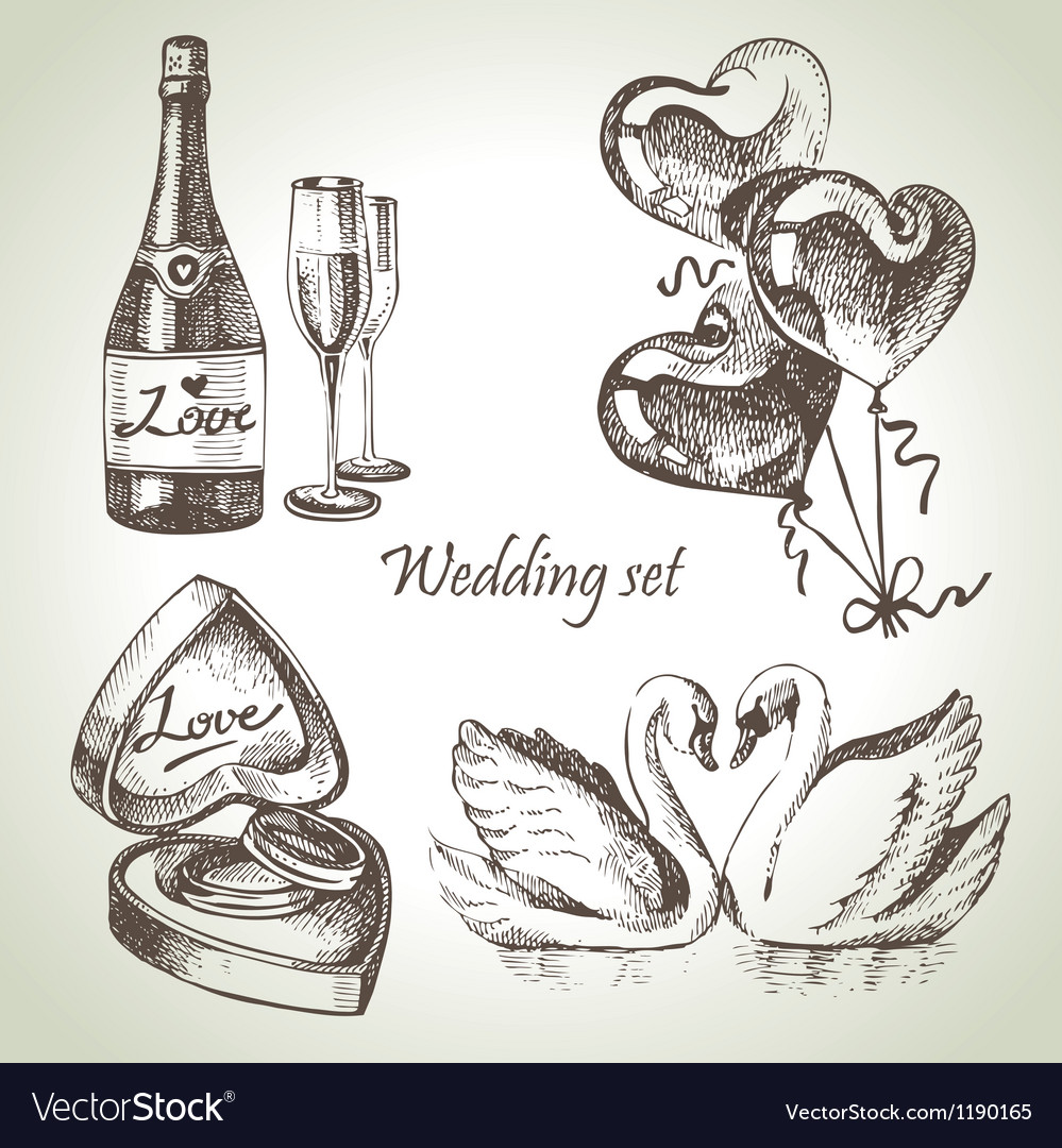 Wedding set hand drawn