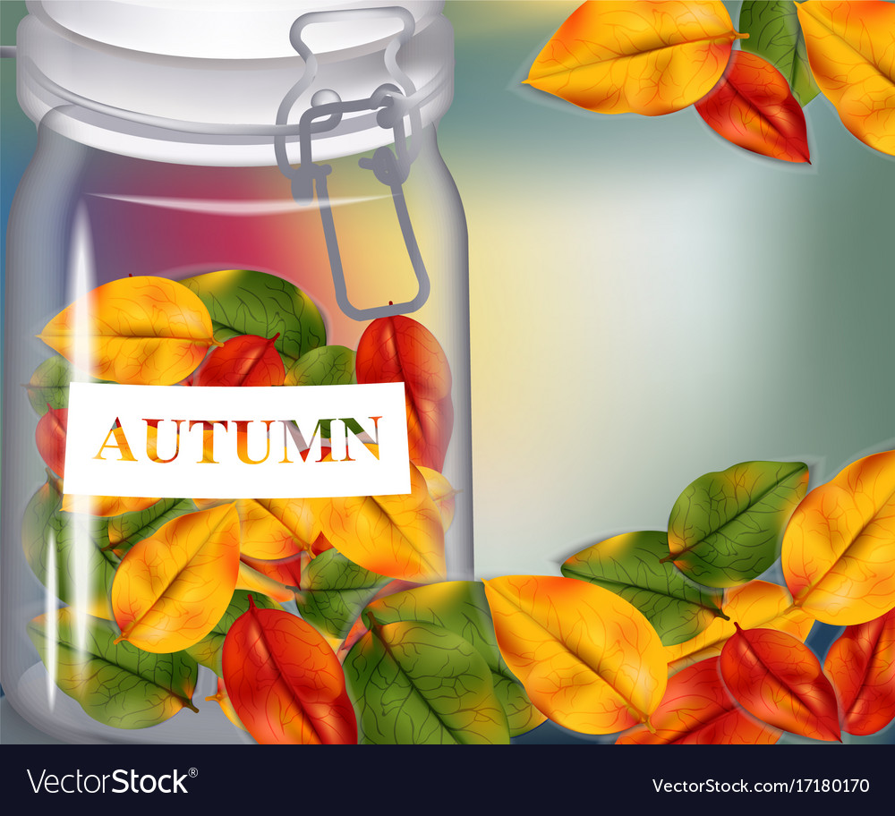 Autumn leaves in a jar on blurry background