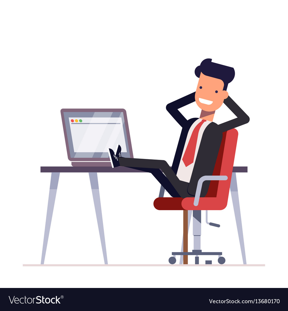 Businessman or manager sits in a chair his feet vector image