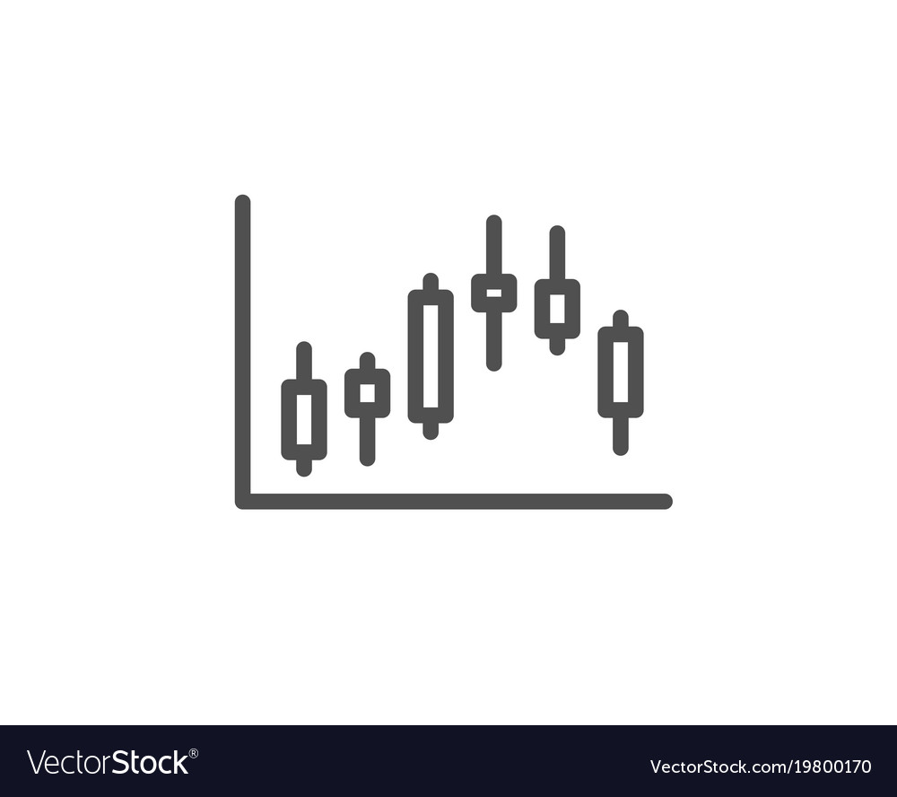 Candlestick chart line icon financial graph