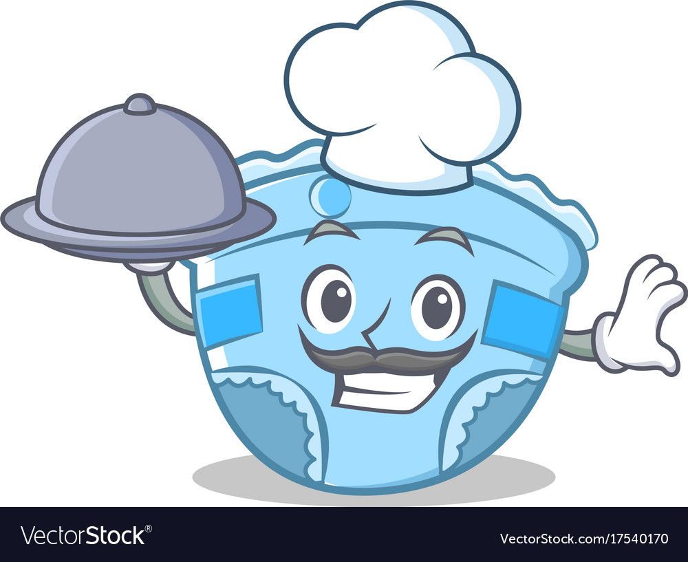 Chef with food baby diaper character cartoon Vector Image