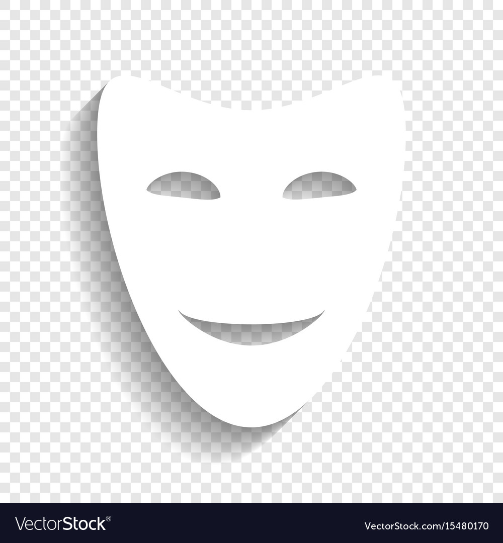 Comedy theatrical masks white icon with